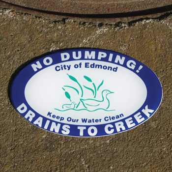 No Dumping, Drains to Creek Storm Drain Marker